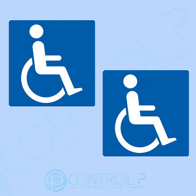 2 x Disabled Car Stickers, Blue Badge, Mobility Vehicle Window Sticker - 100mm