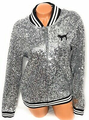 Victoria Secret Pink Fashion Show Sequined Cowl  Bling High Jogger Set L XL New
