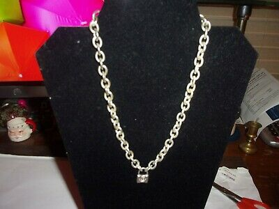 """Tiffany & Co. 1837 Lock Charm Pendant Sterling Silver Necklace w/Pouch 18"""" Appx"""