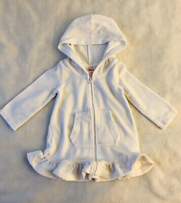 CIRCO Baby//Infant Girl HOODED SWIMSUIT COVER UP Small 0-6 Months TERRY CLOTH Wht