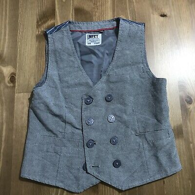 Next Boys Toddler 2-3 Years Grey Waistcoat Smart Casual Buttons