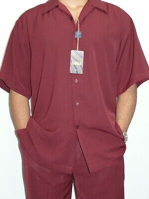 Mens Inserch Walking Leisure Suit Two Piece Matching Slacks Shirt 9356 Burgundy