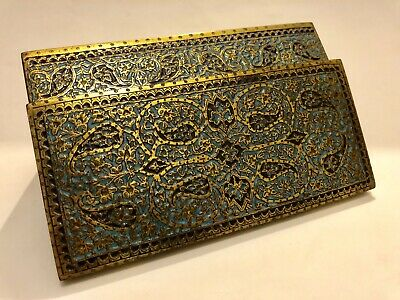 Superb Quality Antique Persian Islamic Indian Gilt Champleve Kashmir Box