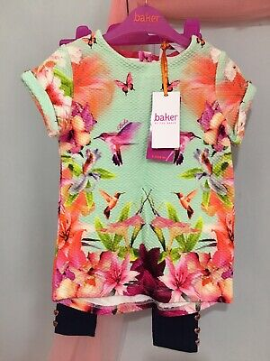 New Girls Designer Ted Baker Quilted Hummingbird Outfit Top & Leggings 3-4yrs