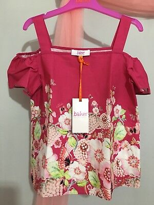 New With Tags Designer Girls Ted Baker Pink Floral Cold Shoulder summer Top 9yrs