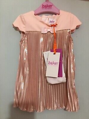 New Baby Girls Designer Ted Baker Pink Rise Gold Pleat Occasion Dress Set 3-6m