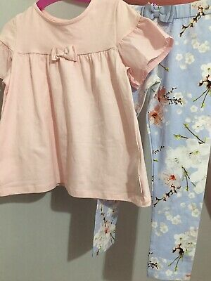 New Girls Designer Ted Baker Pink & Blue Floral Blossom Print Outfit 5-6yrs