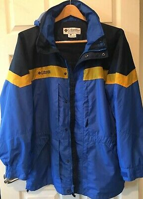 Columbia Hooded Rain Jacket Water Proof Blue Size XL