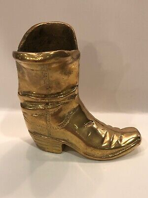 Heavy Vintage Solid Brass Cowboy Boot Paperweight Pen Holder Decor VERY NICE