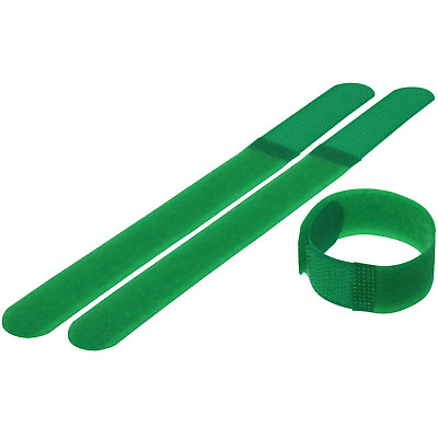10 Pack Hook and Loop Cable Tie Roll. 7 inch Long x 0.78in Wide, Green
