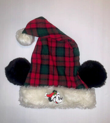 New Disney World Parks Mickey Mouse Ears Christmas Santa Hat - Adult Plaid