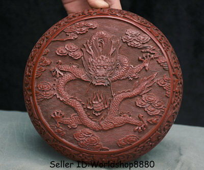 """7.6"""" Old Chinese Red Lacquerware Dynasty Palace Dragon Jewelry box  jewel case"""