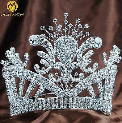 Fantastic Tall Tiara Crown Rhinestone Crystal Brides Pageant Prom Party Costume