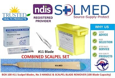 Bx 100 #11 SCALPEL BLADES STERILE & STAINLESS STEEL HANDLE #3 & BLADE REMOVER