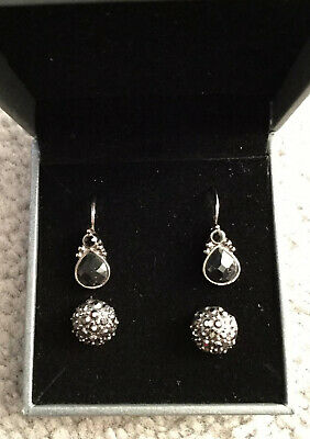 Pewter Earings-Pair Of Large Studs With Black Crystals & Loop Pair + Black Stone