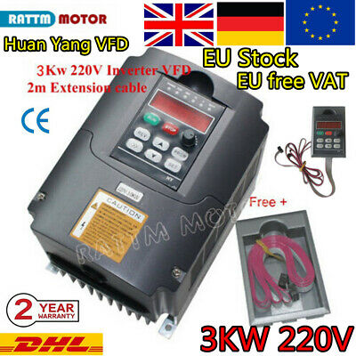 HY 4HP 3KW Spindle VFD 220V Converter Inverter Variable Frequency Drive+Cable➝EU