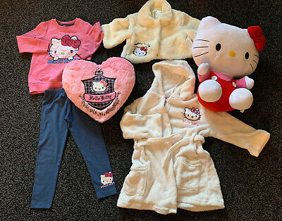 Girl Hello Kitty Bundle Teddy Dressing Gown Pillowcase Cushion Jacket 3/4 Years
