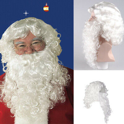 Santa Claus Hair Wigs Father Christmas Wigs and Beard Set Adult Bearded Prett UK