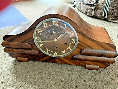 Antique, German Junghans, art deco, mantle clock with Westminster Chimes
