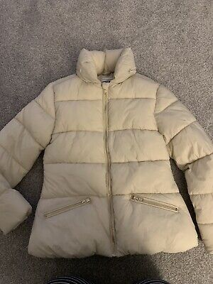 Girls  Warm Winter Coat Age 11-12 Years cream excellent condition