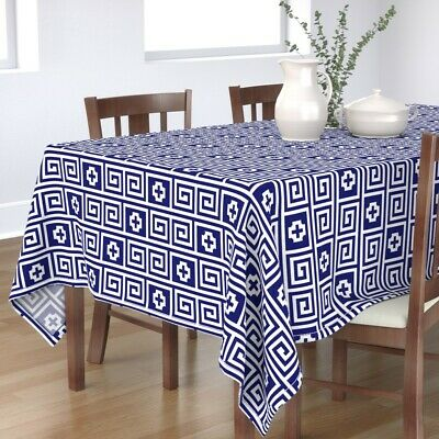 Tablecloth Meander Meandros Key Fret Greek Lines Ancient Pottery Cotton Sateen