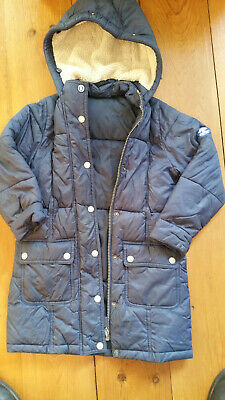 Girls Barbour coat size xs (age 4 - 5) Navy ( 302885646955 )