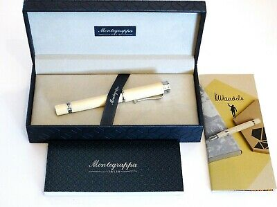Montegrappa Ducale Mandela Rollerball Pen In White With Palladium Trim - New