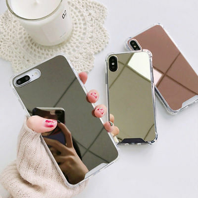 For iPhone 11 Pro Max XR XS Shockproof Armor Luxury Mirror Hard Back Case Cover