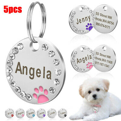 5Pcs DIY Dog Tags Round Paw Rhinestone Puppy Pet Cat ID Name Tag Engraved Deluxe