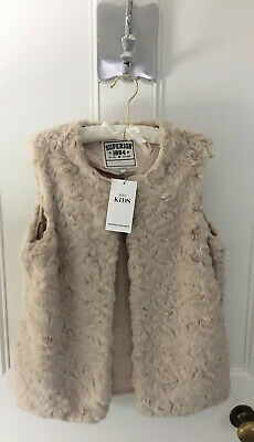 Girls Marks And Spencers Faux Fur Gilet In Natural Age 13-14 BNWT LAST ONE