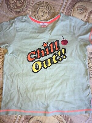 M&Co Kylie Girls Age 11-12 Years Short Sleeve Pyjama Top 100% Cotton Chill Out