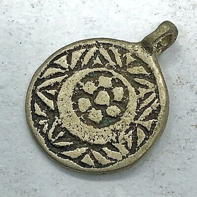 Antique Post Medieval Middle Eastern Islamic Pendant Silver Tone Round Charm Old
