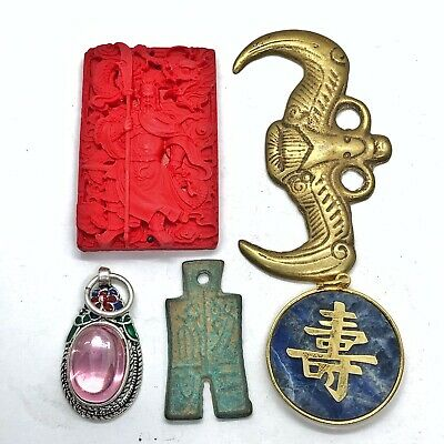 5 Vintage Old Chinese Jewelry Pendants Asian Art Images: Cinnabar, Brass, 14k GF