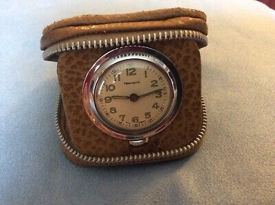 Antique Newmark Travel Clock In Leather Case. Working