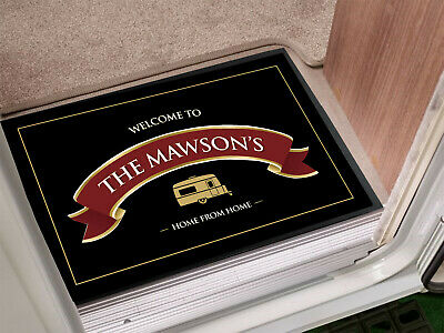Personalised Caravan Red Ribbon label in-door mat 60 x 40 cm
