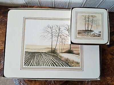 Vintage Cloverleaf Placemats And Matching Coasters Tree Designs