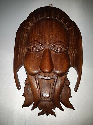 Vintage Chinese Asian red wood Masks hand carved signed Angele Venuge Dasa 1999