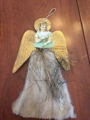 Antique Die Cut Cotton Angel With Dresden Wings German Christmas Ornament
