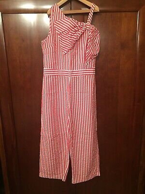 Girls Marks Spencer M&S Jumpsuit Red White Stripes Bow Age 11 12