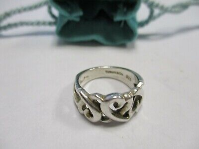 Tiffany & Co. Sterling Silver 925 Paloma Picasso Triple Loving Heart Ring Size5