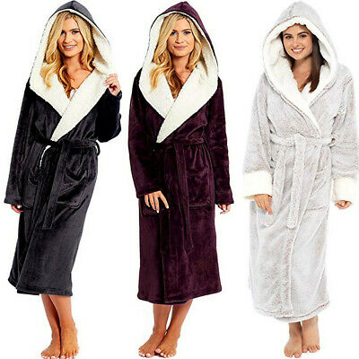 Women Hooded Dressing Gown Bath Robe Flannel Fleece Robes Hood Coat Gowns LIU9