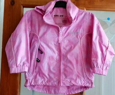 Tog 24 Girls Waterproof Pink  Foldaway Hood Coat Age 3-4 Years.