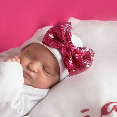 Soft Baby Girl Infant Cotton Bow Hat Newborn Beanie Solid Color Caps CB