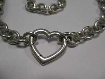 """Tiffany & Co Sterling Silver Spring Opening Heart Clasp Choker Necklace 18"""" 72gm"""
