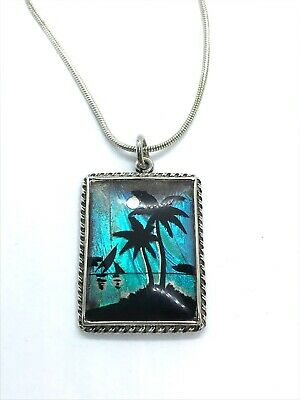 Lovely Antique Art Deco Sterling Silver Morpho Butterfly Wing Pendant Necklace