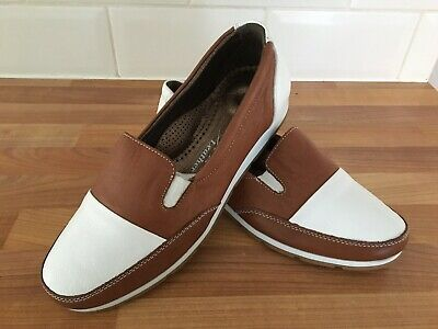 BNWOT LUNAR Tibby Leather Comfort Slip-On Shoes ~ Brown & White ~ UK 3/ EUR 36