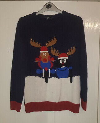 Child's Christmas Reindeer & Penguin Jumper with bells Age 12/13