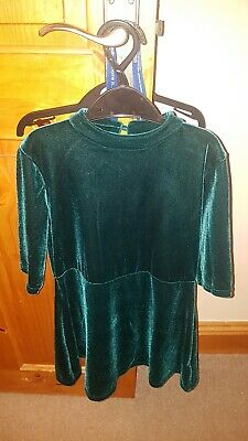 BNWT Girls Age 8 Years NEXT Green Velour Turtle Neck Dress Winter Christmas