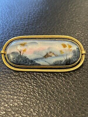 Vtg ANTIQUE Brooch Pin Art Deco or Victorian Hand Painted Scene