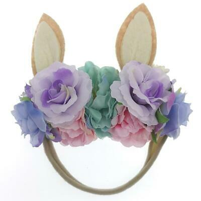 Easter Holiday Bunny Rabbit Floral Baby Girls Headband - Lavender (Style 2)